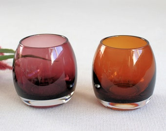 2 Colored Glass Candleholders, Purple and Amber Glass  Candle Holders, House Decoration, Vintage, Tealight Candle Holders, Colored Glassware