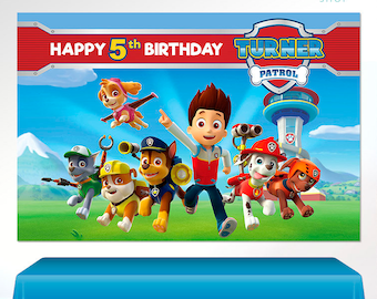Paw Patrol PRINTABLE Digital Backdrop Birthday PartyPaw Banner Poster Boy VB