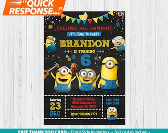 Minion INVITATION Minions Birthday Invitation Boy Party FREE Thank You Card Custom Printable Digital File VB