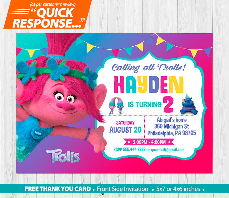 TROLLS POPPY Invitation Trolls Birthday