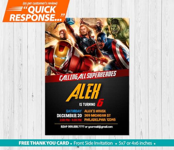 Avengers Invitation PRINTABLE Birthday Invites Party Decorations FREE Thank You Card V1