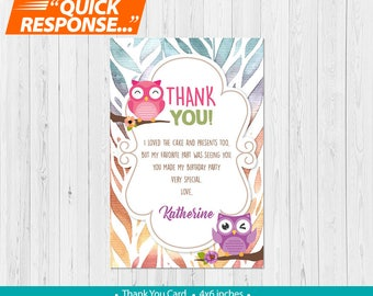 Owl Thank You Card, Owl Birthday Thank You Card, Owl Party Thank You Card, Owl Birthday Party, PRINTABLE DIGITAL, vA
