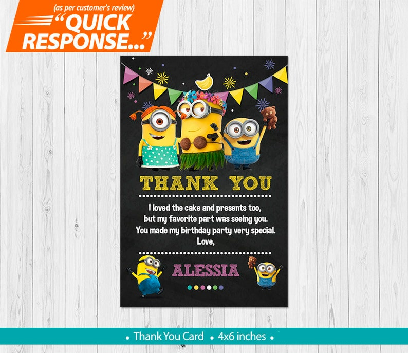 Minion Thank You CARD Minions Birthday Party Girl