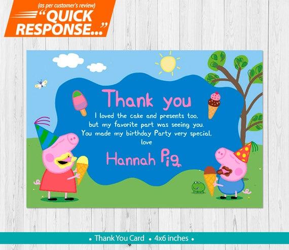 Peppa Pig Ice Cream Thank You Card Peppa Pig Thank You Card Etsy