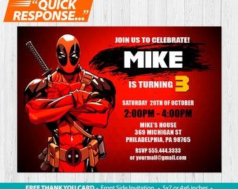 Deadpool Invitation PRINTABLE, Deadpool Birthday Invitation, Deadpool Invites, Deadpool Party Invitation, Deadpool Birthday Party, vA