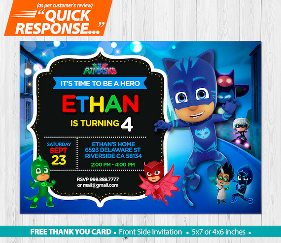 PJ Masks INVITATION Pj Mask Birthday Invitation Catboy