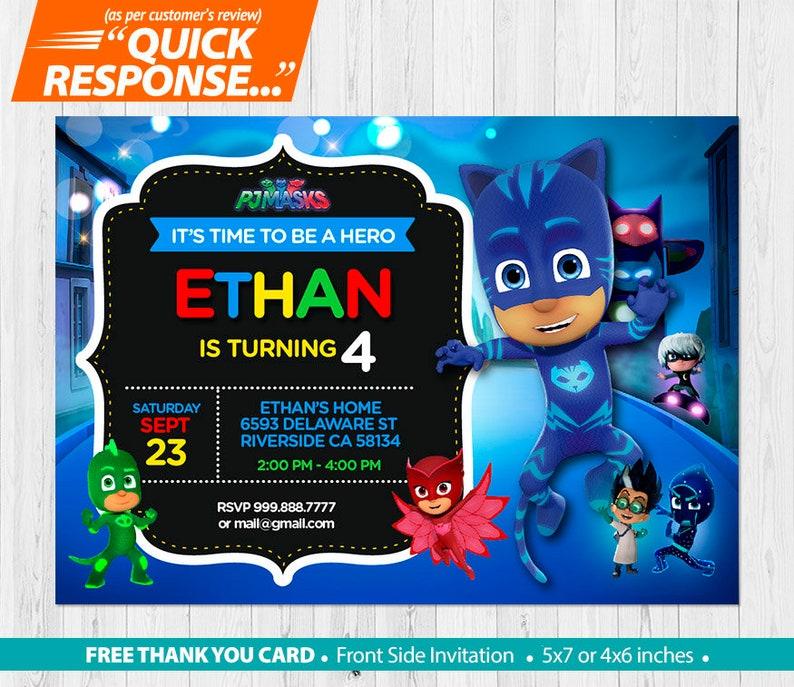 PJ Masks INVITATION Pj Mask Birthday Invitation Catboy Party FREE Thank You Card Custom Printable Digital File VB