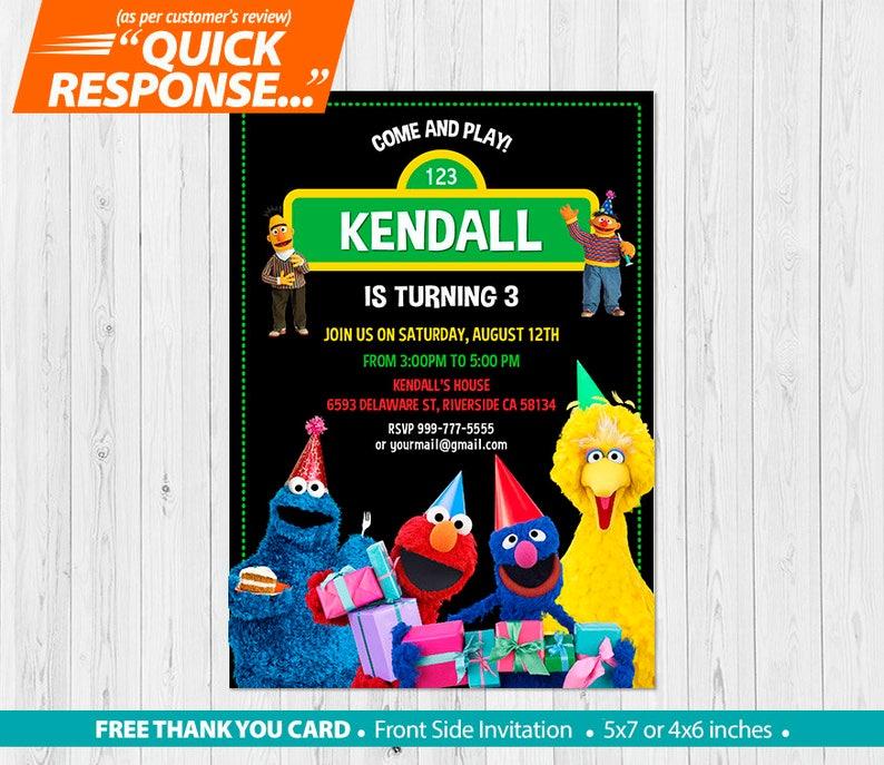 Sesame Street Invitation PRINTABLE Birthday