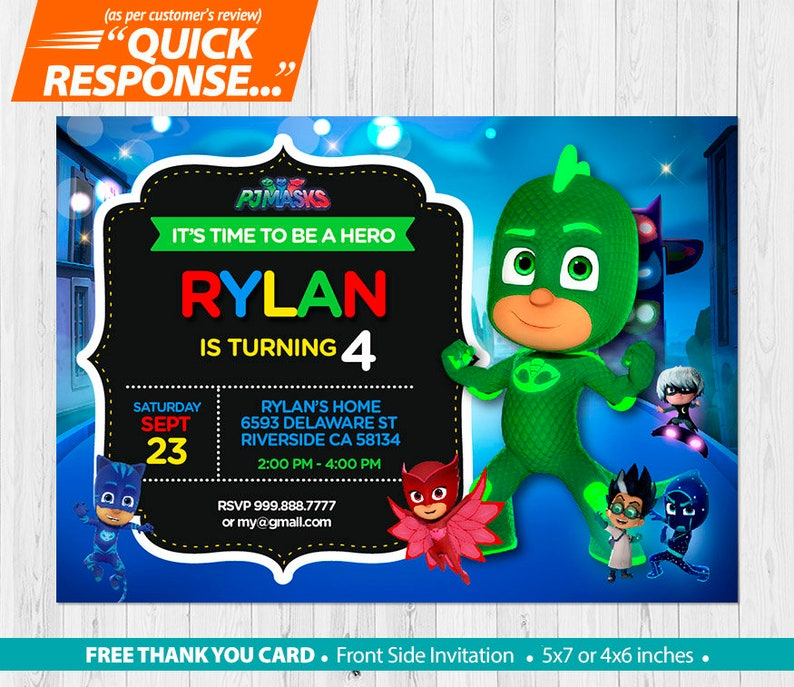 PJ Masks INVITATION Pj Mask Birthday Invitation Gekko