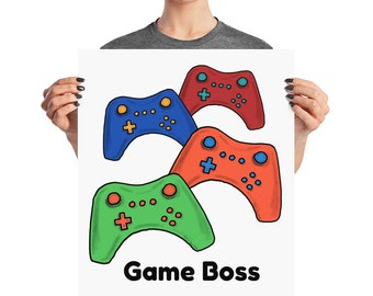Video Game Decor ~ Game Boss Poster ~ Game Controllers ~ Red Blue Orange Green ~ Kid's Room Wall Decoration ~ Man Cave Gamer Print