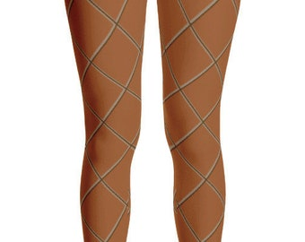 f108f9b1790763 Ice Cream Waffle Cone Adult Leggings Halloween Costume Theater Dress Up  Mascot Brown Grid Check Pattern Family