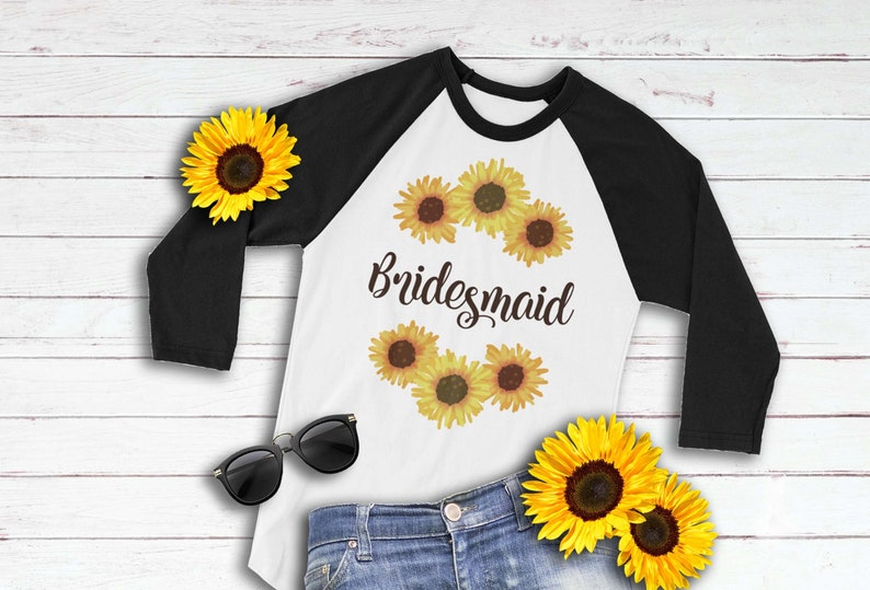 6ca643ab5 Autumn Bridesmaid 3/4 Sleeve Raglan Shirt with Sunflowers | Etsy