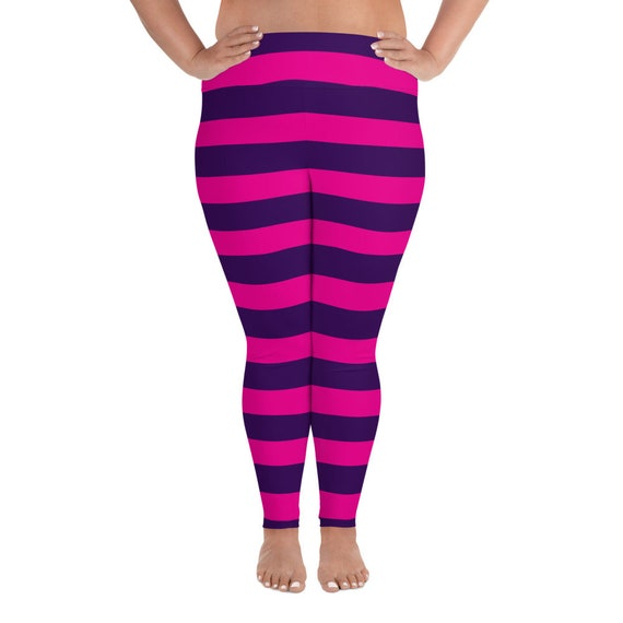 b5560411f0a Pink Purple Narrow Striped Women's Leggings Easy Simple Cheshire Cat  Cosplay Carnival Costume