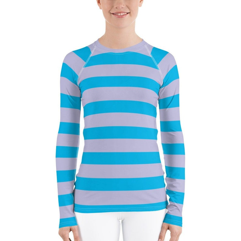 4e8f33f7fb6 Grey Teal Blue Stripe Women's Long Sleeve Athletic Rash Guard Shirt Easy  Simple Halloween Costume Character Play Cosplay Cheshire Cat