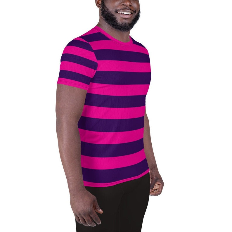 2d2fd4bd04b Pink Purple Stripe Cheshire Cat Men's Athletic T-shirt Easy Halloween  Cosplay Costume