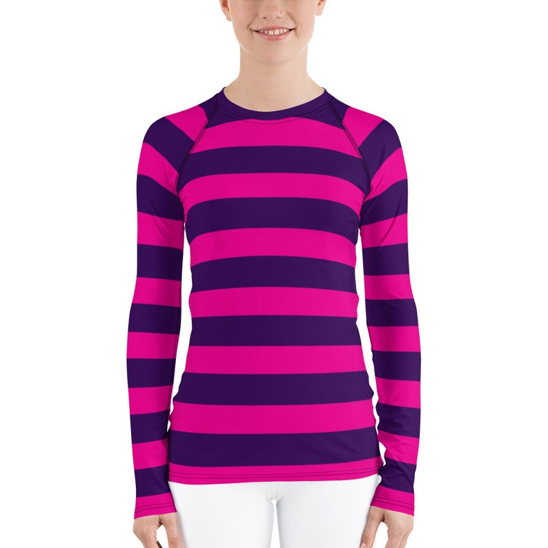 c4cdece240d Pink Purple Stripe Women's Long Sleeve Athletic Rash Guard Shirt Easy  Simple Cosplay Cheshire Cat Carnival Costume