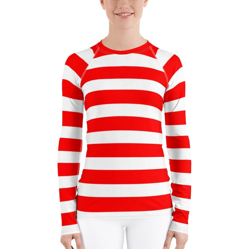 fe4d0255cf3 Red White Stripe Women's Long Sleeve Athletic Rash Guard Shirt Easy Simple  Halloween Costume Character Play Cosplay Candy Cane Elf Pirate