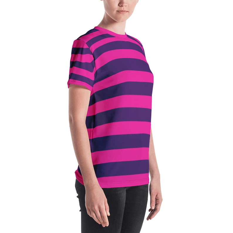 9cb973a14c4 Pink Purple Stripe Cheshire Cat Women's Short Sleeve All-Over Print Shirt  Easy Halloween Cosplay Costume