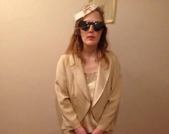 Vintage en soie 3 pièce jupe tailleur - crème/perle de couleur