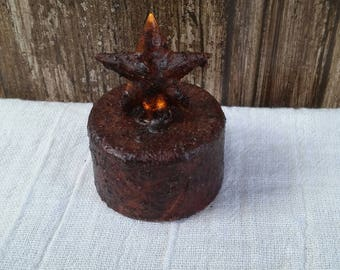Timer Burnt Mustard Star Tea Light Flameless Candle Flickering Light  Battery Operated Primitive Grubby Grungy Rustic Country Home Decor