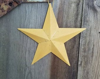 Country Primitive 6 Mustard Barn Stars Rustic Wall Decor Craft Supplies Wedding Crafts Party Metal