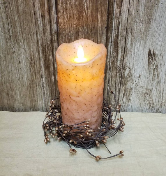 "GRUNGY WAX PAINTED MUSTARD CANDLE CUP TAPER CANDLE HOLDER  2/"" TALL WOOD"