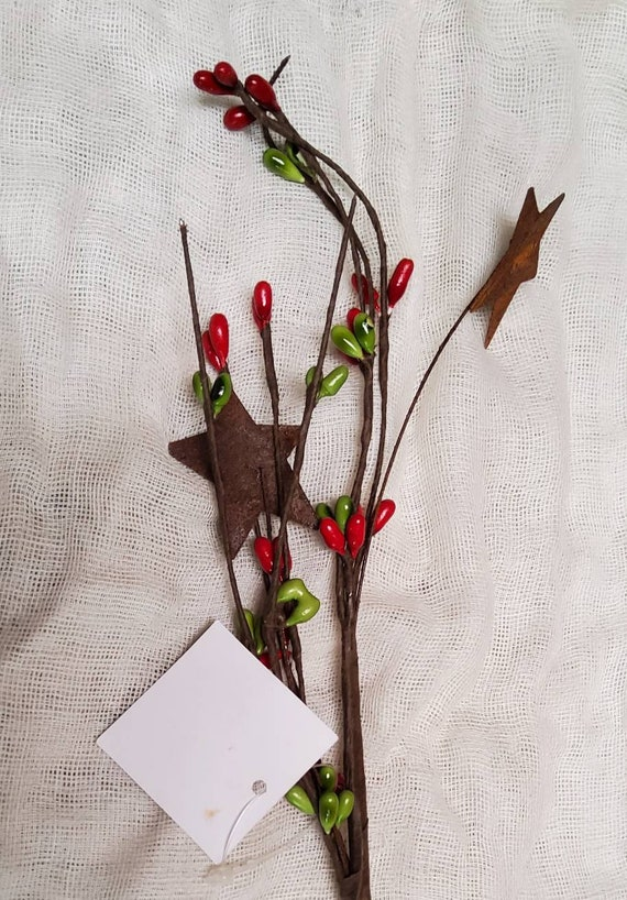Rusted Stars and Berries Branch Spray 12-1//2-Inch