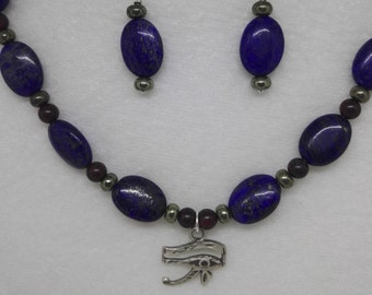 Lapis Lazuli and Pyrite Sterling Silver Eye of Horus Necklace and Earrings