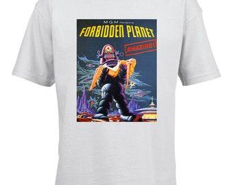 Forbidden Planet Movie Poster Kids T-Shirt. High Quality 100% Ring Spun Cotton Children's Si-Fi Tee. Sixties Science Fiction Film