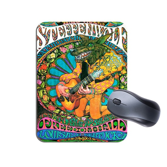 Steppenwolf Mouse Mat Mousepad  Vintage Psychedelic Concert Poster High  Rock Music Mouse Pad