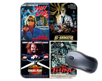 Classic 1980's Horror Movie Posters Mouse Mat Mouse Pad. High Quality Mousepad. They Live, The Thing, Re-Animator, Childs Play Vintage Film