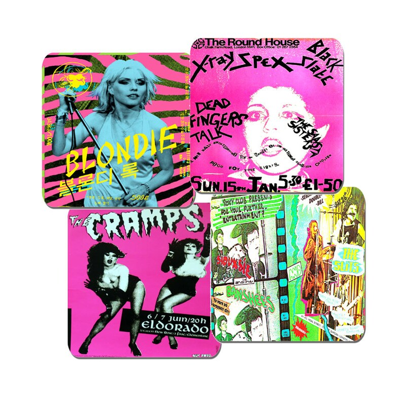 Women Of Punk Rock Drink Coasters Set Of 4. High Quality Cork. image 0