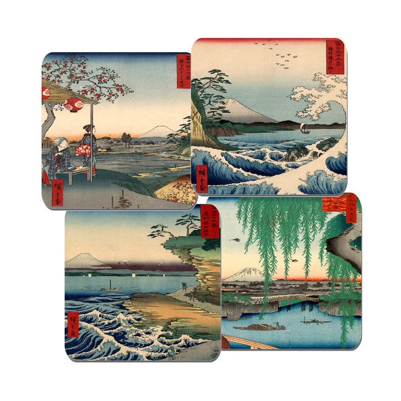 Utagawa Thirty-six Views of Mount Fuji Sea Of Satta Ando Hiroshige Japanese Block Paintings Coaster Set Of 4 High Quality Cork Backed