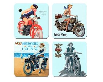 High Quality Cork 1930's Girls and Motorcycles Coasters Set Of 4 .Vintage Thirties Motorbike Biker Classic Bike Gift
