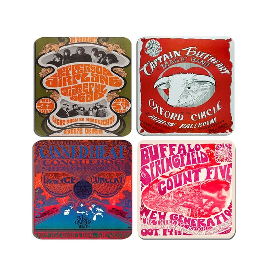 Psychedelic Concert Poster Coasters Set Of 4  High Quality Cork Backed  Drinks Coaster Buffalo Springfield, Captain Beefheart 60's Psych Gift