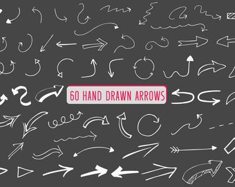Arrow clipart , 60 Hand drawn arrows, Doodle arrows, Arrow vector, Digital arrows- Instant Digital download