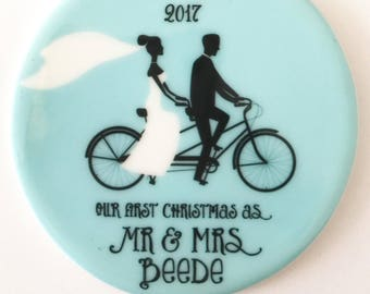 Newlywed Christmas Ornament First Married Wedding Ornament Christmas, Our First Christmas Married Custom, Couple on a Tandem Bike Ornament