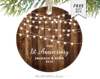 1st Anniversary Gift For Wife Anniversary Christmas Ornament Our First Anniversary Christmas Gifts From Husband Anniversary Gift Couple