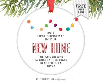 first christmas in our home new home gift for wife custom christmas ornament house colorful lights housewarming gift for new homeowners
