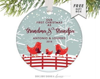 Our First Christmas as Grandma & Grandpa Ornament 2018 | Etsy
