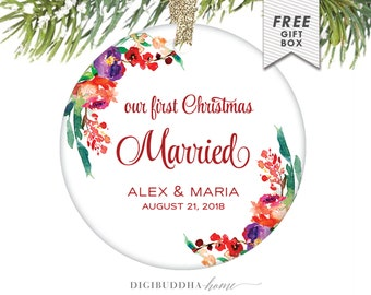 Our First Christmas Married Couple Ornament, Married Christmas Newlywed Decor Married Couple First Christmas Ornaments Married 1st Christmas