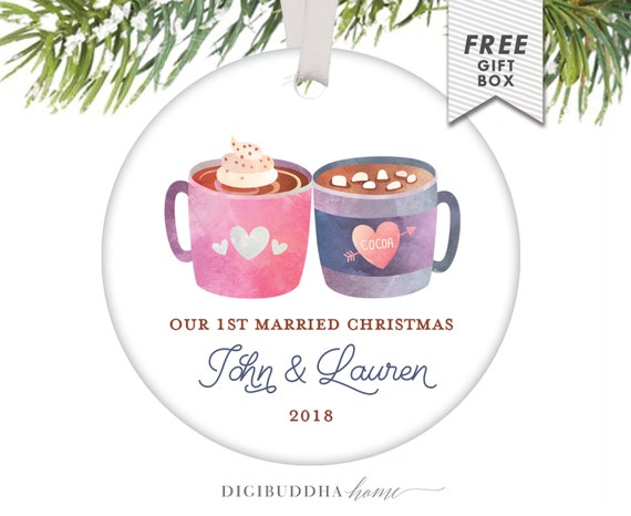 Gift For First Wedding Anniversary Couple: Married Couple Ornament Gift First Year Wedding Anniversary