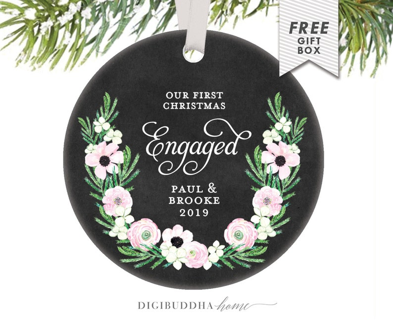 Engagement Ornament Engaged Ornament Personalized Engagement Gift Engagement Christmas Ornament Just Engaged Wedding Ornament For Couple
