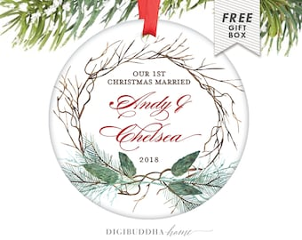 Our First Married Christmas Newlywed Christmas Ornament First Married, First Christmas Ornament Mr and Mrs Personalized Wedding Gift for Him