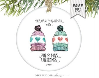 First Christmas Mr and Mrs Ornament, Christmas Ornament for Newlywed First Christmas, Our First Christmas as Mr and Mrs, Personalized Gift