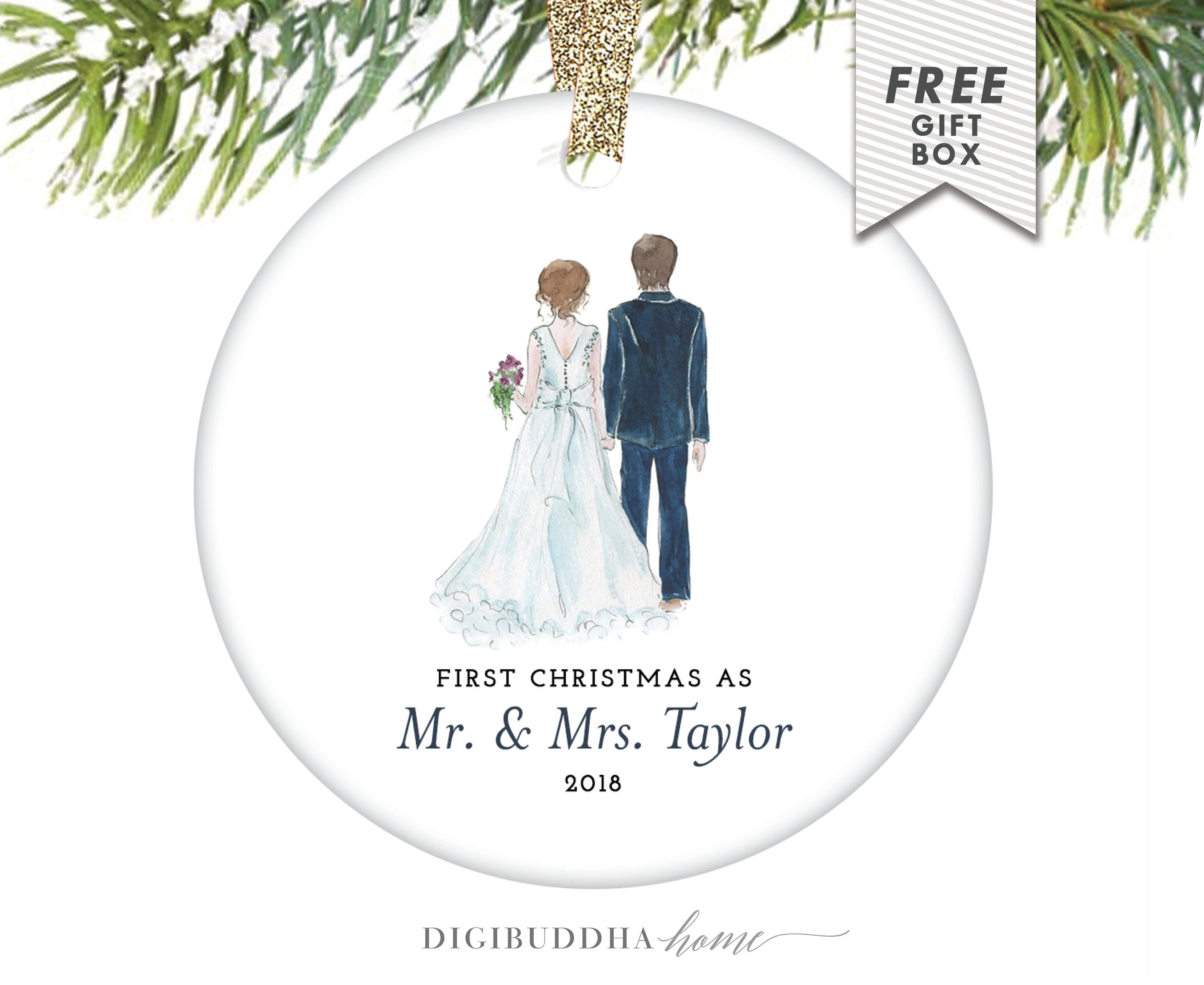Wedding Gift Ornaments: Newlywed Gift Christmas Married Personalized Ornament