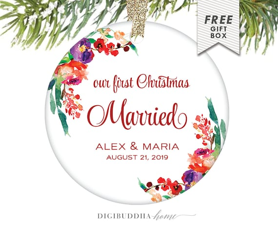 Married couple first christmas ornament