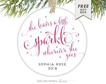 She Leaves A Little Sparkle Wherever She Goes Ornament Baby Girl Christmas Ornament Baby's First Christmas Girl Babys 1st Christmas Ornament