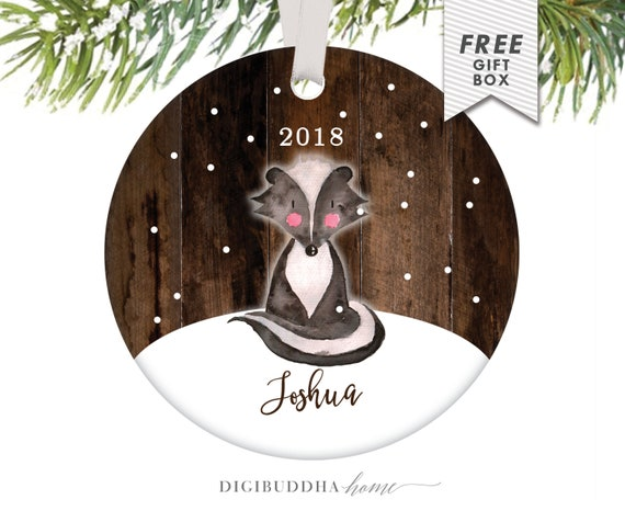 image 0 - Baby Christmas Ornament Little Skunk Ornament Personalized Etsy