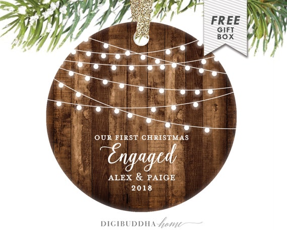 image 0 - Personalized Engagement Christmas Ornament Rustic Farmhouse Etsy